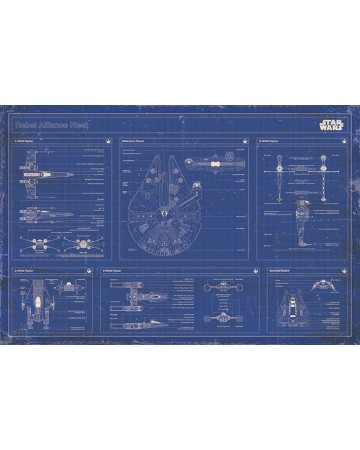 Star Wars - grand poster Rebel Alliance Fleet Blueprint
