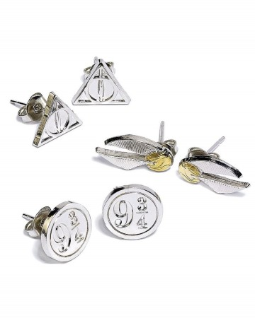 Harry Potter - Boucles d'oreilles Deathly Hallows, Platform 9 3/4, Golden Snitch