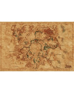 Zelda Breath of the Wild - grand poster carte d'Hyrule (61 x 91,5 cm)