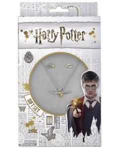 Harry Potter - Set collier et boucles d'oreilles Golden Snitch