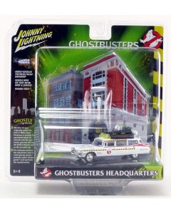 Ghostbusters II - 1/64 1959 Cadillac Diorama Ecto 1A Includes Firehouse Exterior