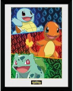 Pokemon - poster encadré Starters Glow 30 x 40 cm