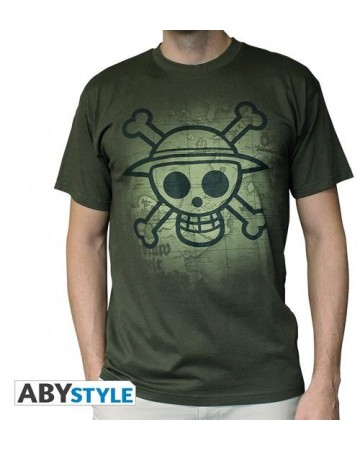 One Piece - T-Shirt Kaki Skull Map Used