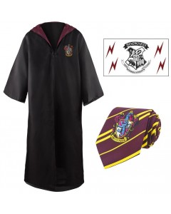 Harry Potter - Pack déguisement Gryffindor : robe de sorcier + cravate + 5 tatouages