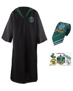 Harry Potter - Pack déguisement Slytherin : robe de sorcier + cravate + 5 tatouages
