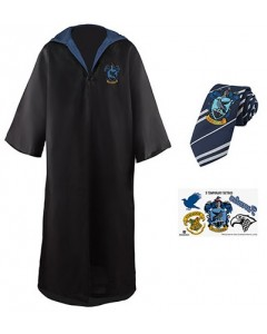 Harry Potter - Pack déguisement Ravenclaw : robe de sorcier + cravate + 5 tatouages