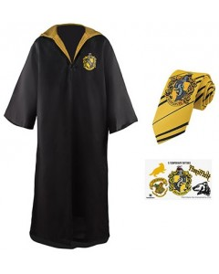Harry Potter - Pack déguisement Hufflepuff : robe de sorcier + cravate + 5 tatouages