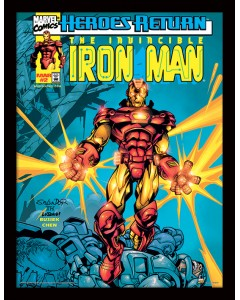Marvel - poster encadré Iron Man Heroes Return (30 x 40 cm)