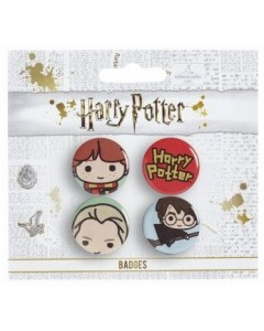 Harry Potter - Set de 4 badges Chibi - Ron, Draco, Harry