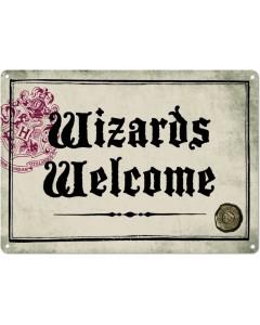 Harry Potter - Panneau métallique Wizards Welcome