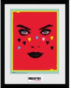 Birds of Prey - poster encadré Harley Quinn Face (30 x 40 cm)