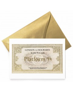 Harry Potter - Carte de voeux métallisée Hogwarts Express Ticket