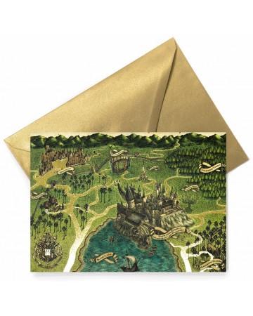 Harry Potter - Carte de voeux métallisée Hogwarts Map