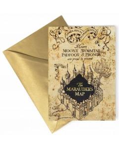Harry Potter - Carte de voeux métallisée Marauder's Map