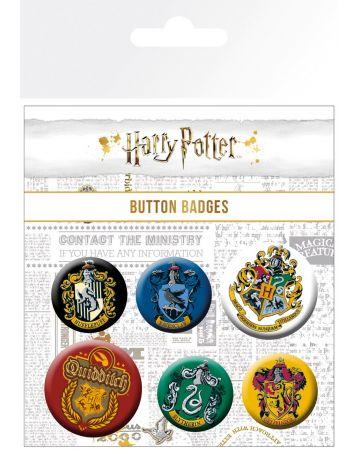 Harry Potter - set de 6 badges House Crests