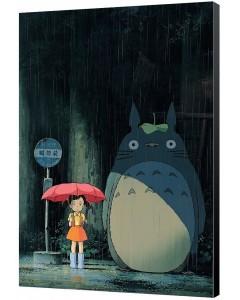 Mon voisin Totoro - poster en bois digigraphie Arrêt de bus 35 x 50 cm