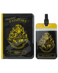 Harry Potter - Set couverture de passeport + étiquette de bagage Hufflepuff