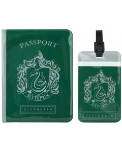 Harry Potter - Set couverture de passeport + étiquette de bagage Slytherin