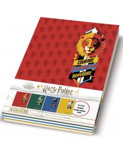 Harry Potter - Lot de 4 cahiers Harry Potter Grand Carreaux Seyes 17 x 22 cm