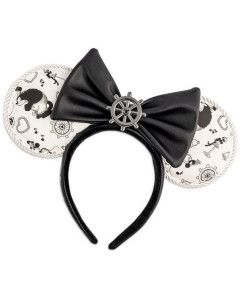 Disney - Serre-tête Oreilles Mickey Steamboat Willie Ears Bow Rope Piping